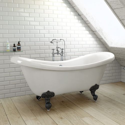 1750mm Freestanding Roll Top Double ended Slipper Bath with Ball Feet